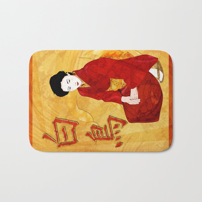 Swan Japanese Geisha Folk Art Bath Mat By Bohemianbound Society6