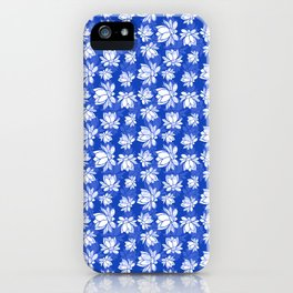 White lotus flower pattern on blue backgroud iPhone Case