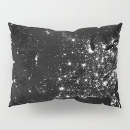 The Lights of the USA (Black and White) Pillow Sham