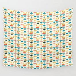 Mid century modern abstract shapes pattern Wall Tapestry