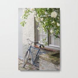 Bicycle with White Roses, Bruges Metal Print