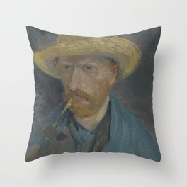 Self-Portrait with Straw Hat and Pipe Throw Pillow
