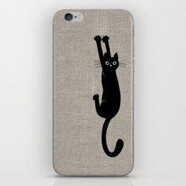 Black Cat Hanging On iPhone Skin