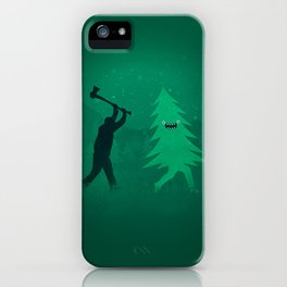 Funny Cartoon Christmas tree is chased by Lumberjack / Run Forrest, Run! iPhone Case