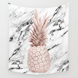 Rose Gold Pineapple on Black and White Marble Wall Tapestry