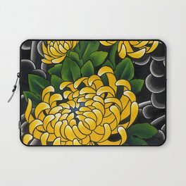 Japanese tattoo style sumi ink wash and watercolor chrysanthemum   Laptop Sleeve