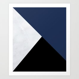 Colour Block Marble Blue Art Print