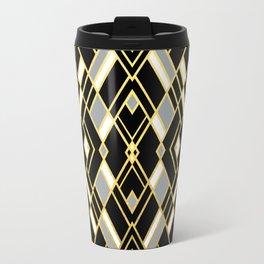 Art Deco Grey Gold Metal Travel Mug