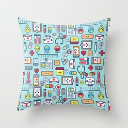 Proud To Be a Nurse Pattern / Blue Throw Pillow