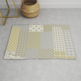 Modern Farmhouse Patchwork Quilt in Gray Marigold and Oatmeal Rug