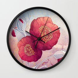 Christmas Roses :: Red Petals, Frosted Leaves Wall Clock
