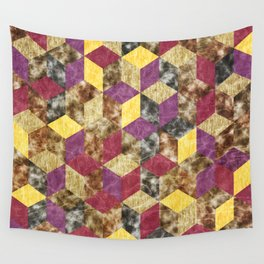 Colorful Isometric Cubes VII Wall Tapestry