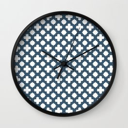 Dusky Blue Stars & Crosses Pattern Wall Clock