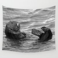otter Wall Tapestries featuring otter feet by Lisa Carpenter