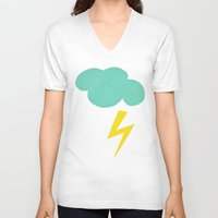 lightning V-neck T-shirts featuring Lightning Strike by Cassia Beck