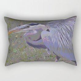 Great Blue Heron, Feathers Up Rectangular Pillow