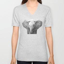 Black and White Baby Elephant Unisex V-Neck