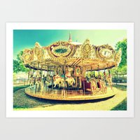carousel Art Prints featuring Carousel Merry-G0-Round by WhimsyRomance&Fun