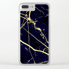 BlueBlack-Gold Marble Galaxy Impress Clear iPhone Case