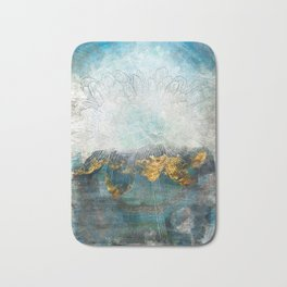 Lapis - Contemporary Abstract Textured Floral Bath Mat