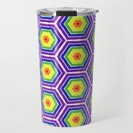 Pride Honeycomb Reverse Rainbow Travel Mug