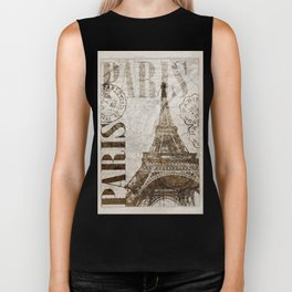 Vintage Paris eiffel tower illustration Biker Tank