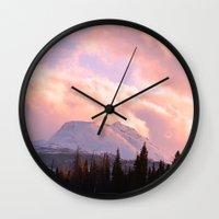 ashton irwin Wall Clocks featuring Rose Quartz Turbulence by Alaskan Momma Bear