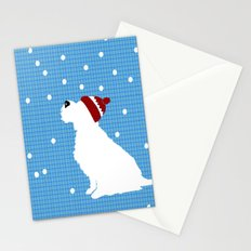 Schnauzer Dog in snow, christmas time Stationery Cards