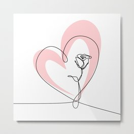 Heart line with rose Metal Print