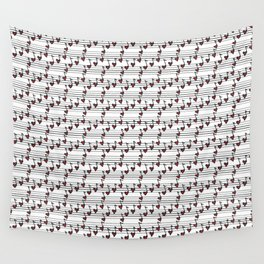 pattern with notes like hearts Wall Tapestry