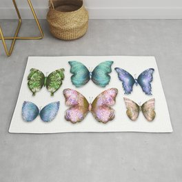 Butterfly Illustrations 6 (of 11) // Beautiful Mandala Detailed Wings Design // Green Purple Blue Rug