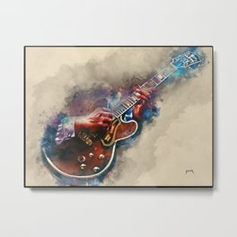 BB King's electric guitar, guitar wall art, studio decor, music room decor, gift for guitarist Metal Print