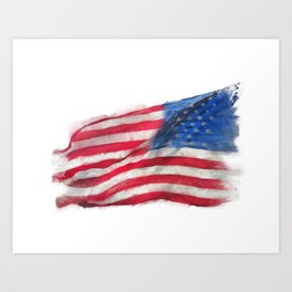 Flag of America watercolor on white background Art Print