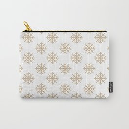 Snowflakes (Tan & White Pattern) Carry-All Pouch