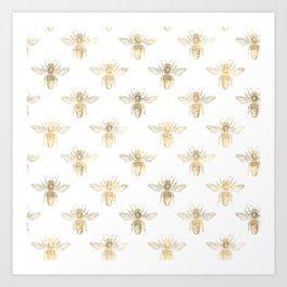 Gold Bee Pattern Art Print