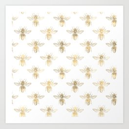 Gold Bee Pattern Art Print