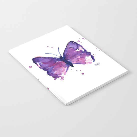 Butterfly Purple Watercolor Animal Notebook