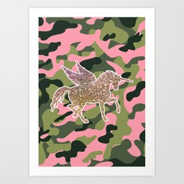 Girl Power Flying Unicorn Art Print