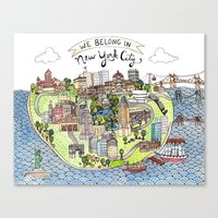 new york city Canvas Prints featuring New York City Love by Brooke Weeber