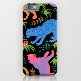 Jungle Cat Party in Black + Neon iPhone Case