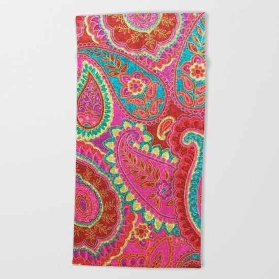 Floral Paisley Pattern 07 Beach Towel