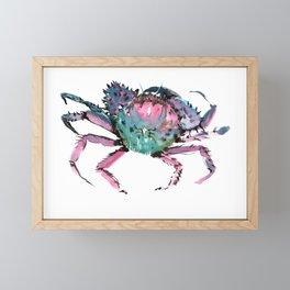 Crab Turquoise Blue Pink Crab Design Framed Mini Art Print