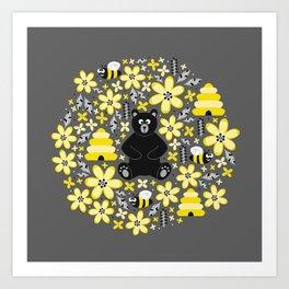 Bear and Bees Art Print