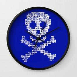 PIRATE SKULL Blue Wall Clock
