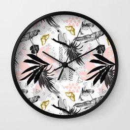 Bird in abstract nature II Wall Clock