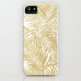 Elegant faux gold glitter tropical plants pattern  iPhone Case