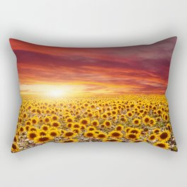 Field of blooming sunflowers on a background sunset Rectangular Pillow