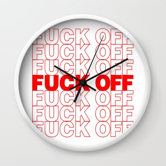 dff9de7be Fuck off Thank You Plastic Bag Typography Wall Clock by rexlambo | Society6