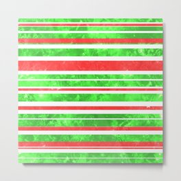 Sun Kissed Stripes: Red and Green Metal Print
