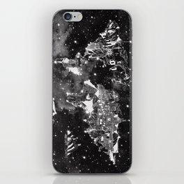 world map galaxy black and white iPhone Skin